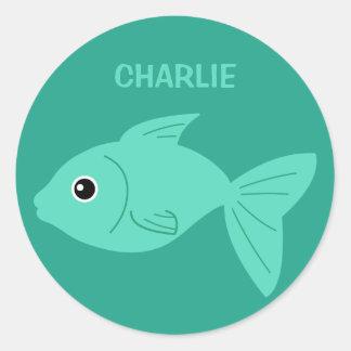 Cute Fish custom name stickers