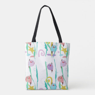 Cute fish tank tote bag