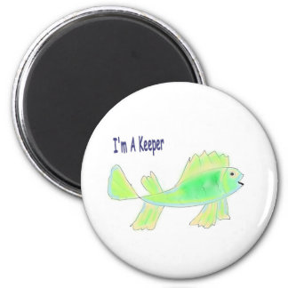 Cute fish with I'm a keeper text Refrigerator Magnet