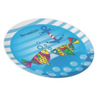 Cute Fishy Bubbles - Baby Nursery Plate