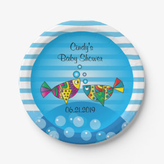 Cute Fishy Bubbles Baby Shower Theme Paper Plate