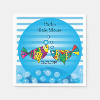 Cute Fishy Bubbles Baby Shower Theme Paper Serviettes