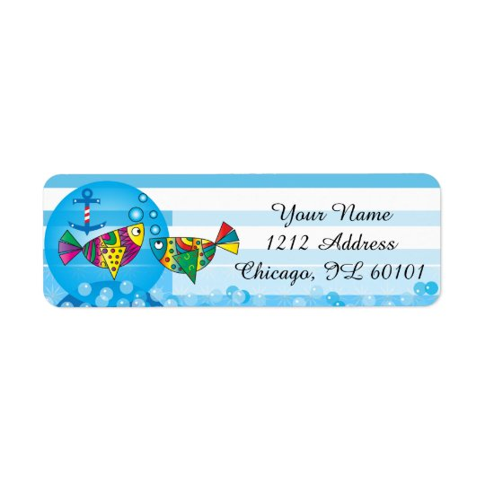Cute Fishy Bubbles Baby Shower Theme Return Address Label