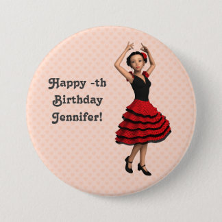 Cute Flamenco Dancer (Personalized) 7.5 Cm Round Badge