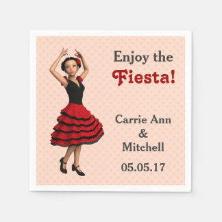 Cute Flamenco Dancer (Personalized) Paper Serviettes
