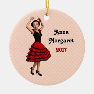 Cute Flamenco Dancer (Personalized) Round Ceramic Decoration