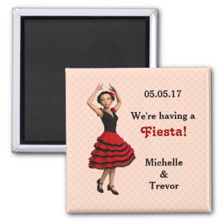Cute Flamenco Dancer (Personalized) Square Magnet