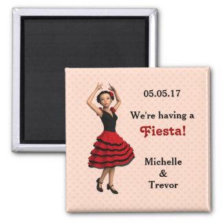 Cute Flamenco Dancer (Personalized) Square Magnet