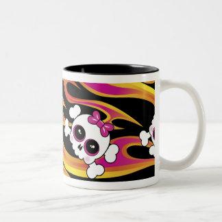 Cute Flaming Skulls Two-Tone Coffee Mug