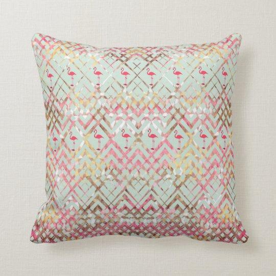 Cute Flamingo Abstract Pink Green Zigzaga Pattern Cushion