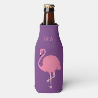 Cute Flamingo custom monogram bottle cooler