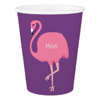 Cute Flamingo custom monogram paper cups