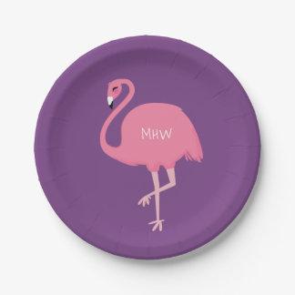 Cute Flamingo custom monogram paper plates