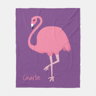 Cute Flamingo custom name fleece blankets