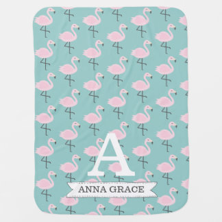 Cute Flamingo Pastel Initial Name Blanket
