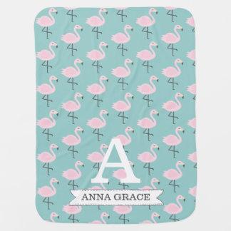 Cute Flamingo Pastel Initial Name Blanket Baby Blankets