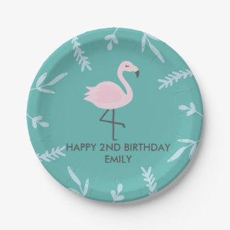 Cute Flamingo Pastel Personalized Party Plate