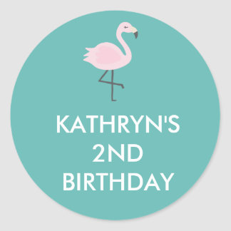 Cute Flamingo Pastel Personalized Sticker