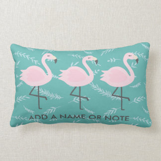 Cute Flamingo Pastel Teal Pillow