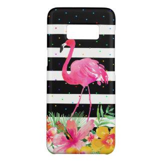 Cute Flamingo Tropical Flowers & Black Stripes Case-Mate Samsung Galaxy S8 Case