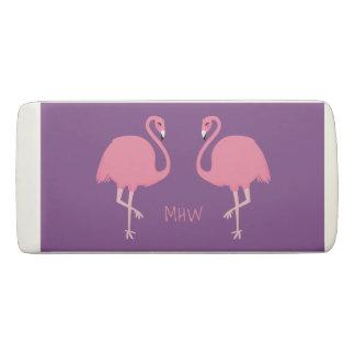 Cute Flamingos custom monogram eraser