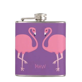 Cute Flamingos custom monogram flask