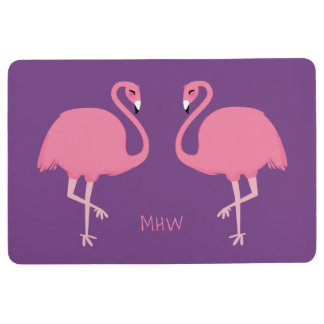 Cute Flamingos custom monogram floor mat