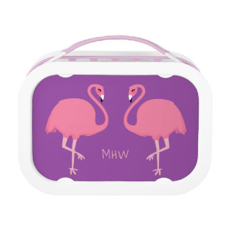 Cute Flamingos custom monogram lunch box