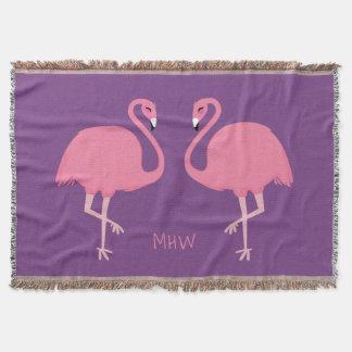 Cute Flamingos custom monogram throw blanket