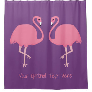 Cute Flamingos custom text shower curtains