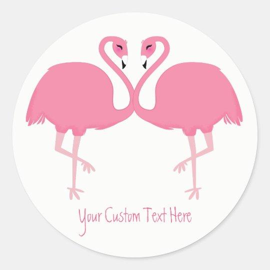 Cute Flamingos custom text stickers