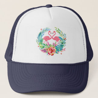 Cute Flamingos & Tropical Flowers Wreath Trucker Hat