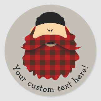 Cute Flannel Red Plaid Bearded Character Round Sticker