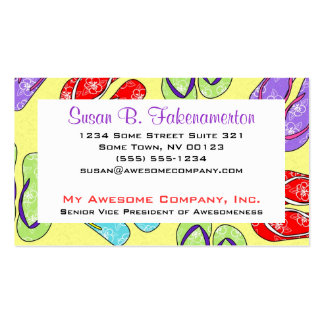 Cute Flip Flop Beach Theme Pack Of Standard Business Cards