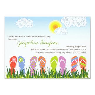 Cute Flip Flops Fun In The Sun Bachelorette Party 11 Cm X 16 Cm Invitation Card