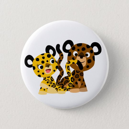 Cute Flirtatious Cartoon Jaguars Button Badge