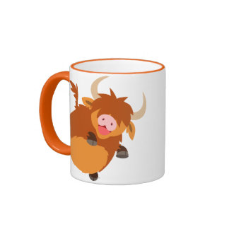 Cute Floating Cartoon Highland Cow Mug