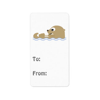 Cute Floating Otter Address Label
