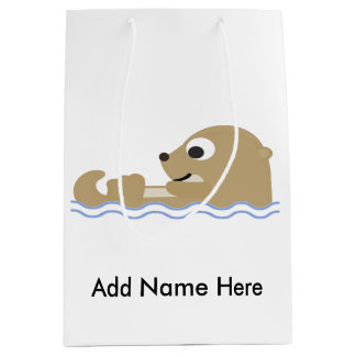 Cute Floating Otter Medium Gift Bag