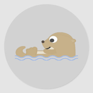 Cute Floating Otter Round Sticker