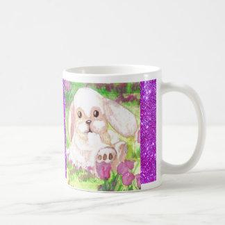Cute Floppy Eared Bunny Pink Sparkly Happy Mug 1