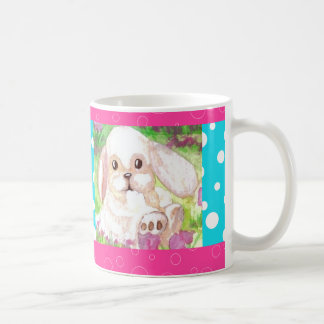 Cute Floppy Eared Bunny Pink Turquoise Happy Mug 2