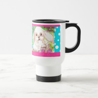Cute Floppy Eared Bunny Pink Turquoise Happy Mug 3