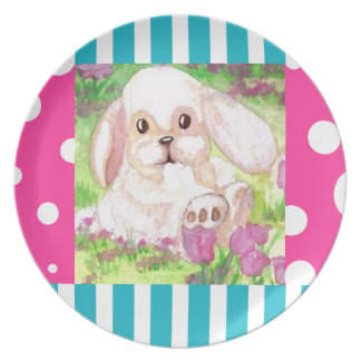 Cute Floppy Eared White Bunny Picnic Plate 2