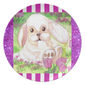 Cute Floppy Eared White Bunny Picnic Plate 4