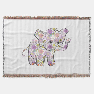 Cute Floral Baby Elephant Throw Blanket