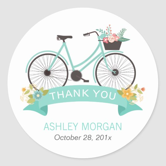 Cute Floral Bicycle Pastel Mint Green Thank You