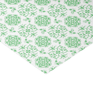 Cute Floral Damask Stylie Pattern Green and White Tissue Paper