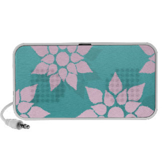 Cute Floral Design Pink over Turquoise Speaker System