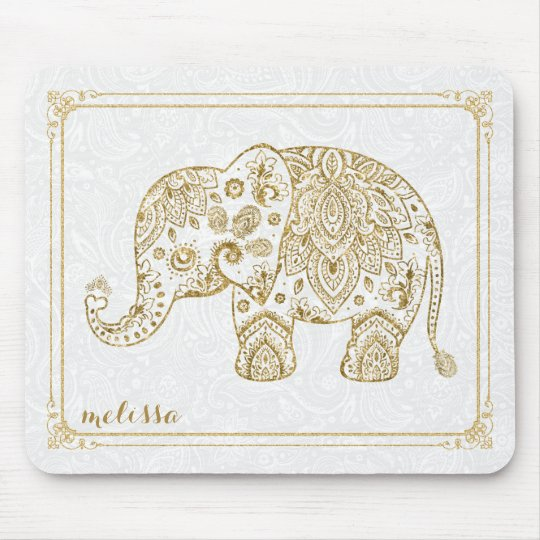 Cute Floral Elephant & Frame Gold Glitter On